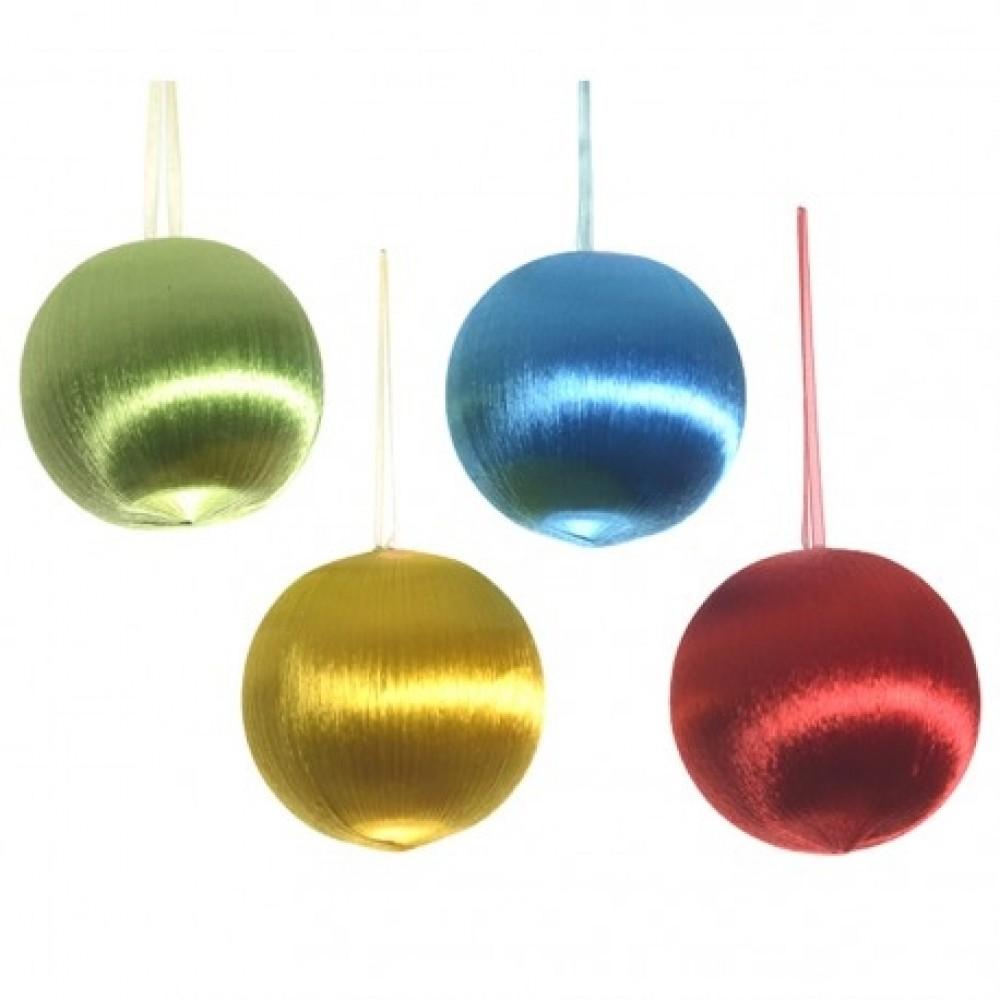 8 cm retro-kugler, satintråd, 4 stk i boks-31