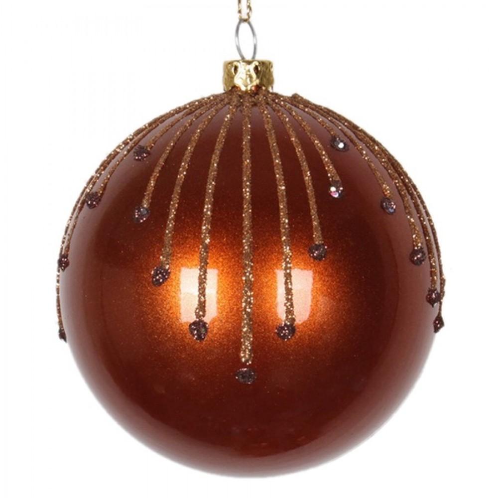 8 cm julekugle, perlemor, kobber m/stjerneskud kobber og choko glitter-31