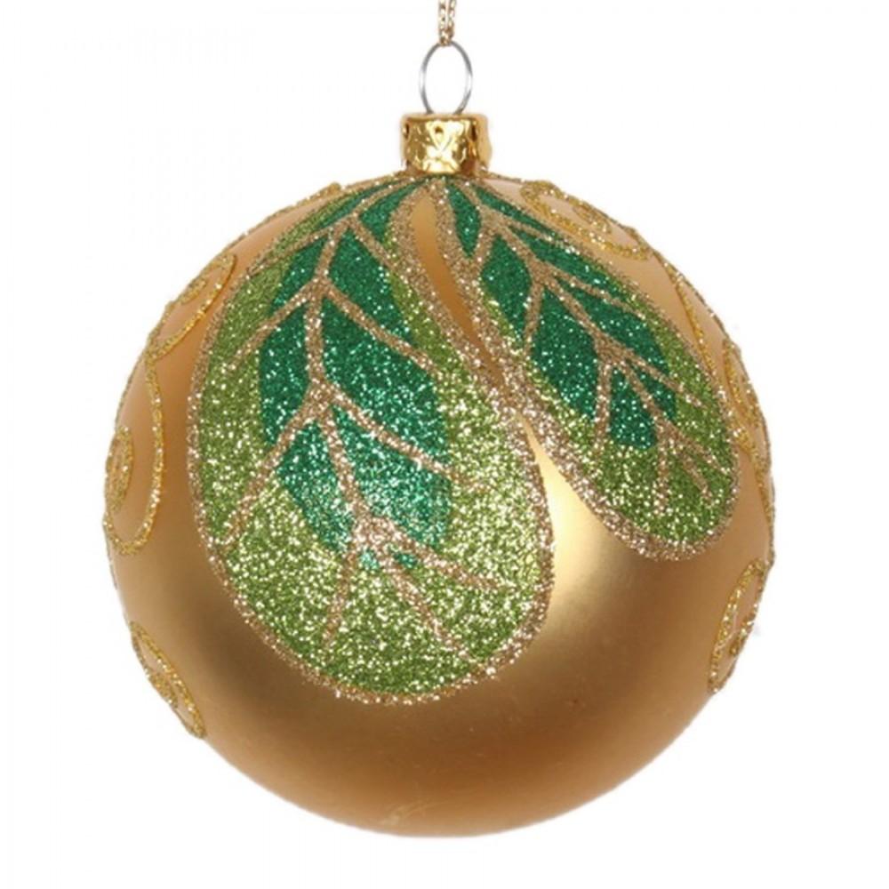 8 cm julekugle, mat, guld m/blad champagne, lime, grøn glitter-31