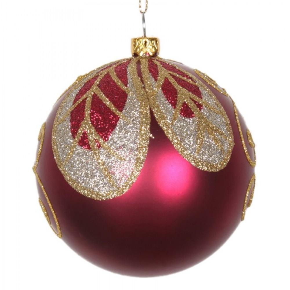 8 cm julekugle, mat, burgundy m/blad champagne, guld, burgundy glitter-31
