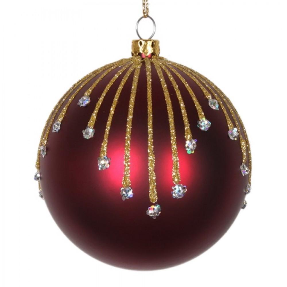 8 cm julekugle, mat, burgundy m/stjernskud guld og sølv glitter-31