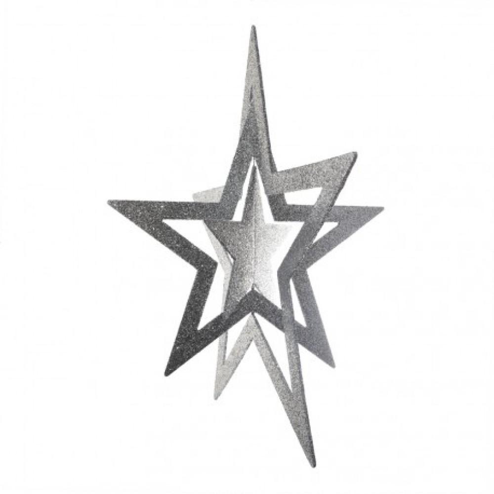 86 cm 3D stjerne, glitter, sølv-31