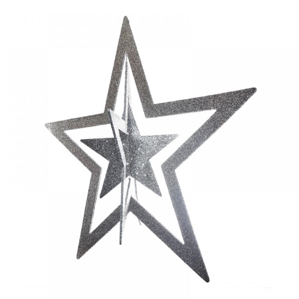 86 cm 3D stjerne, glitter, sølv-01