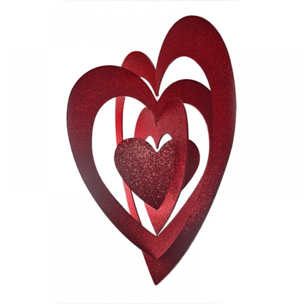 86 cm hjerte, 4D, glitter, rød-31