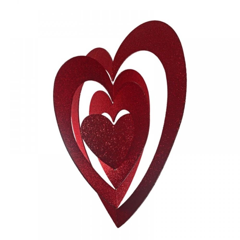 86 cm hjerte, 4D, glitter, rød-01