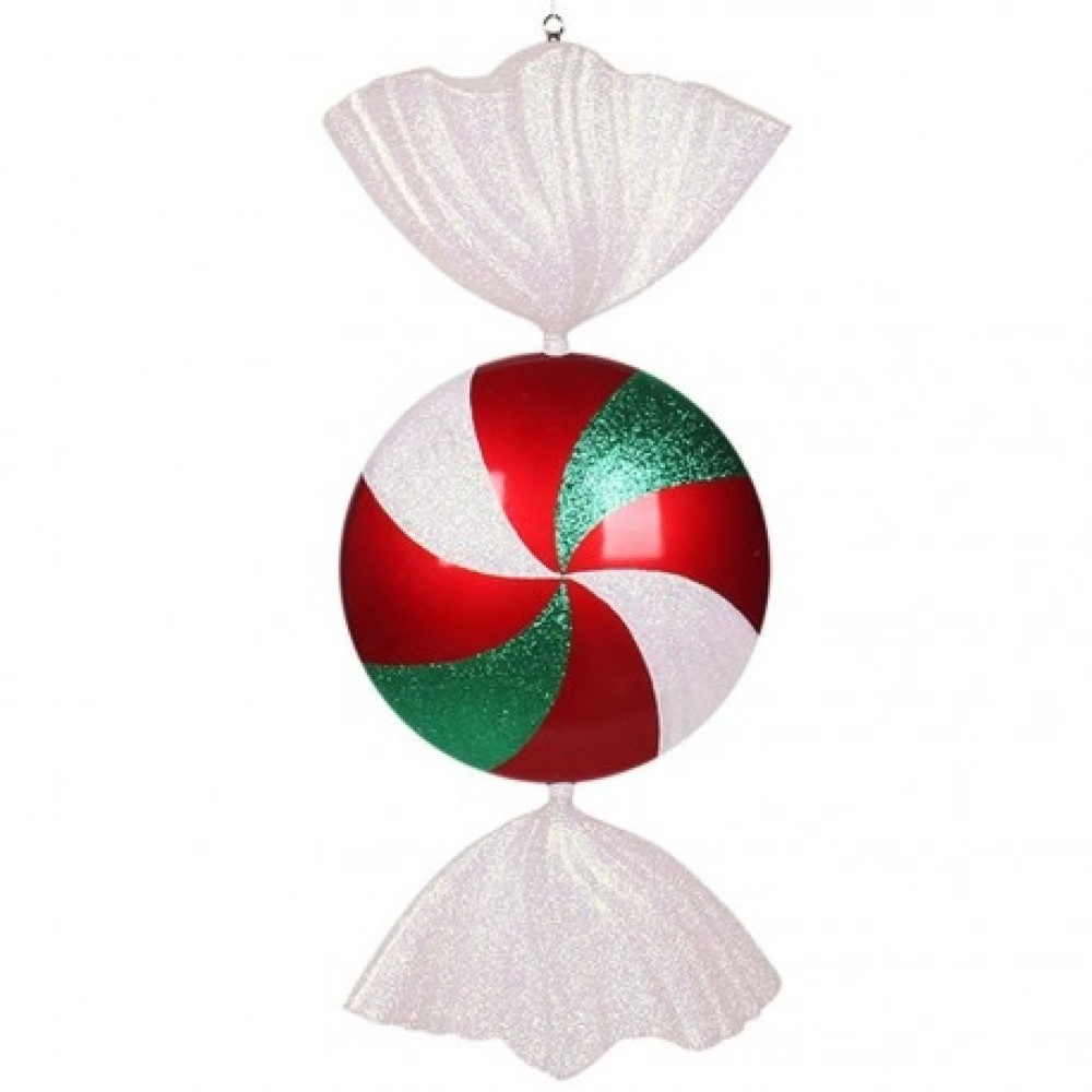 94 cm fladt slik, rødt med hvidt og grønt glitter-31