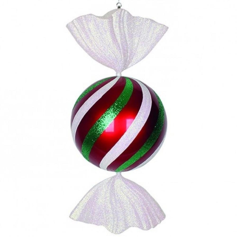 94 cm rundt slik, rødt med hvidt og grønt glitter-32