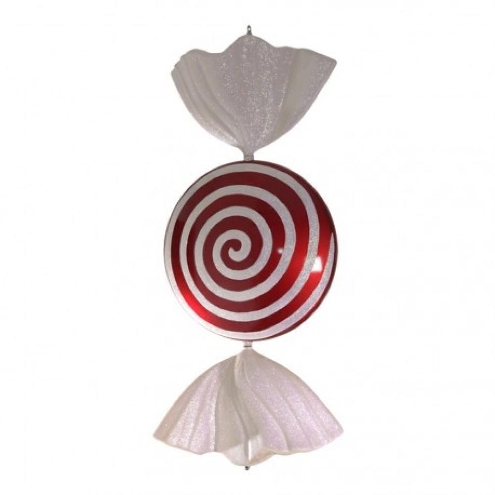 94 cm slik, flad rund, rødt med hvidt glitter-31