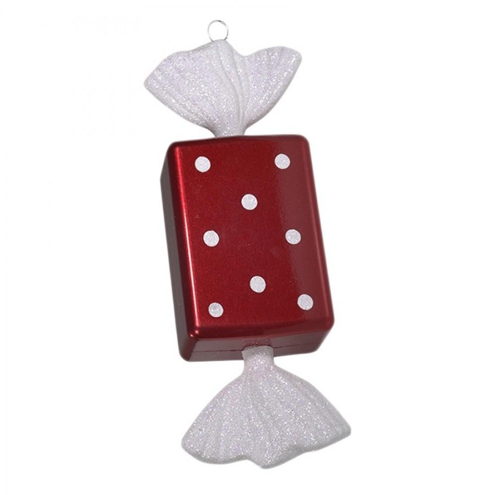 20 cm slik, rød med hvidt glitter, regtangulær-31