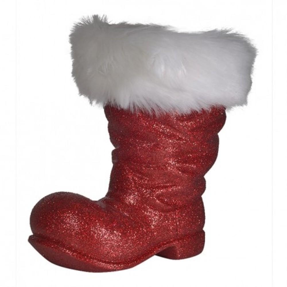 Julemandens støvle, 26 cm, rødt glitter-33