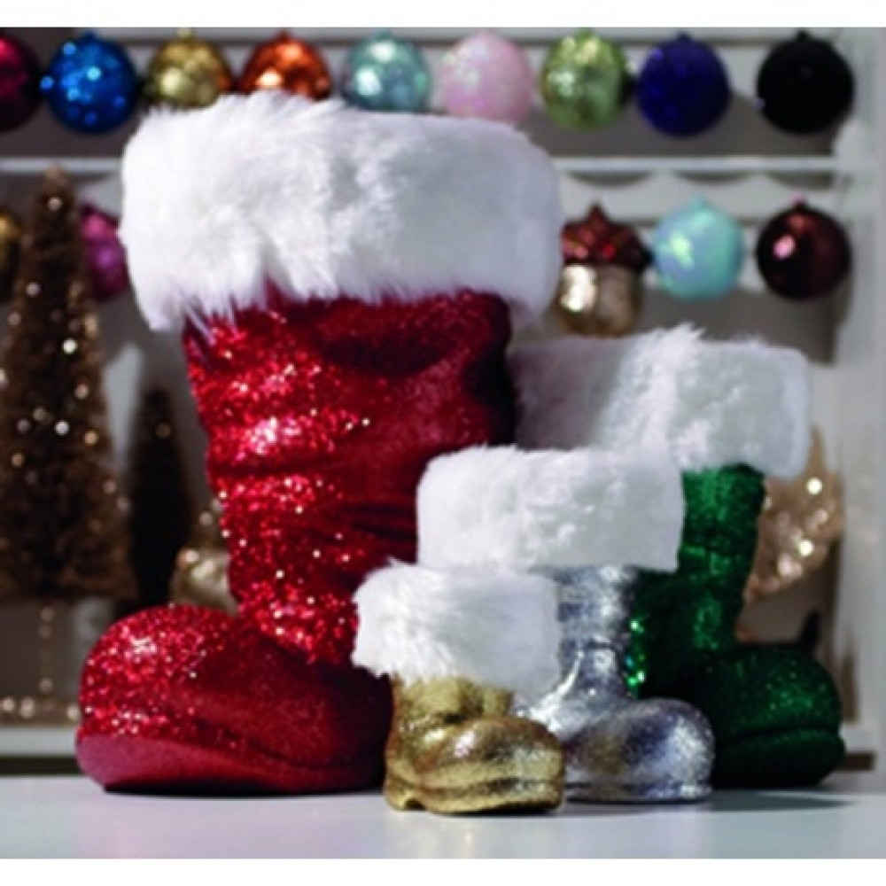 Julemandens støvle, 19 cm rød glitter-03