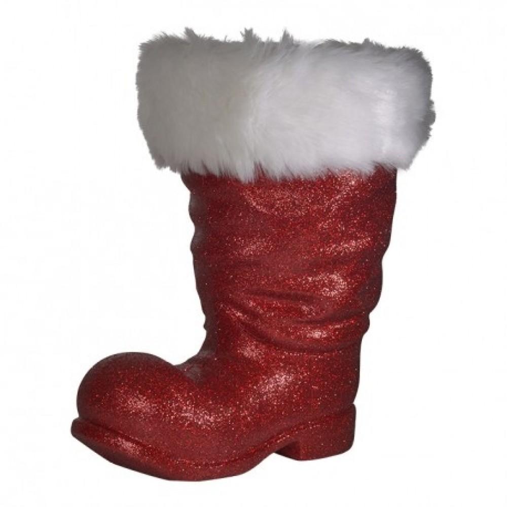 Julemandens støvle, 19 cm rød glitter-33