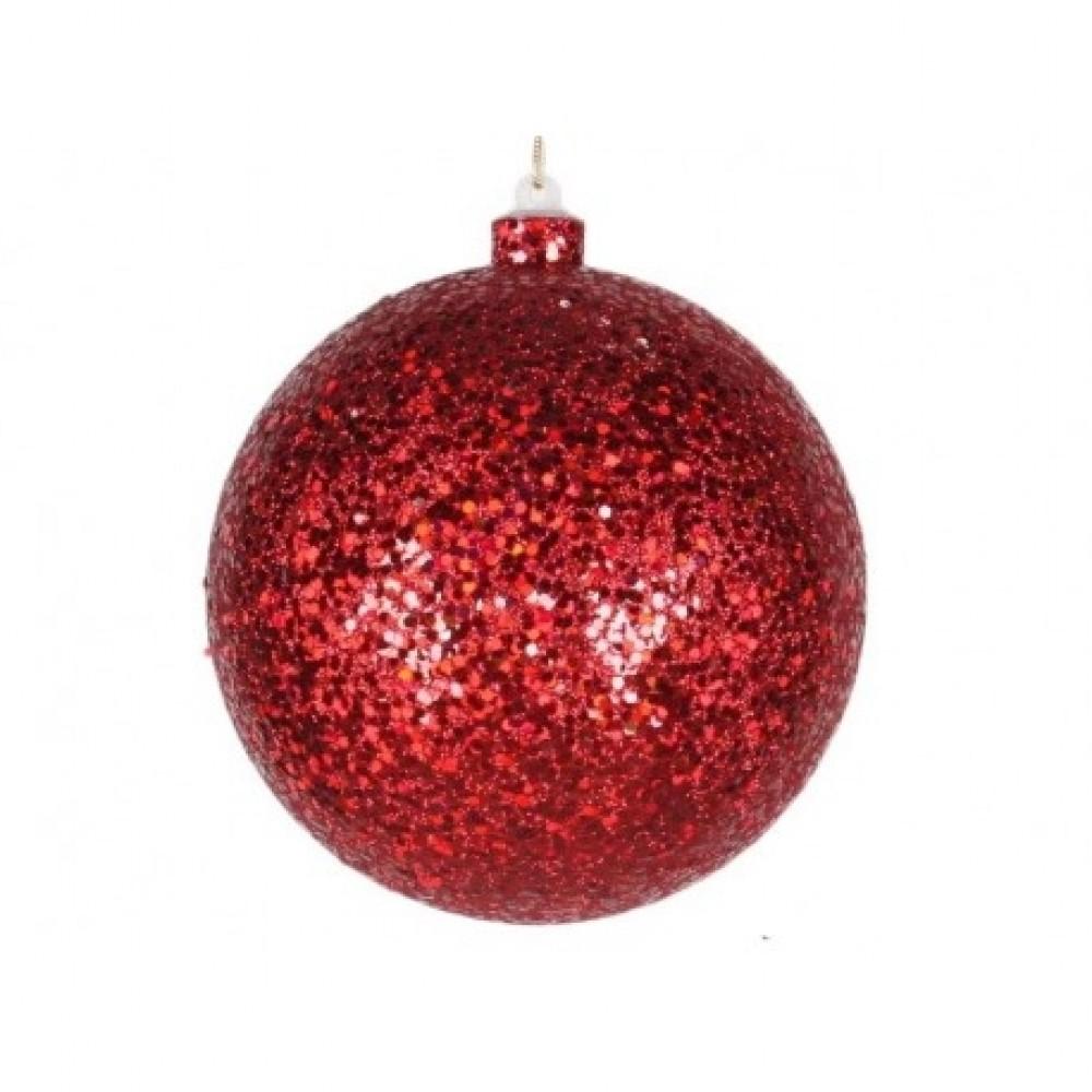 14 cm julekugle, laserglitter, rød-31