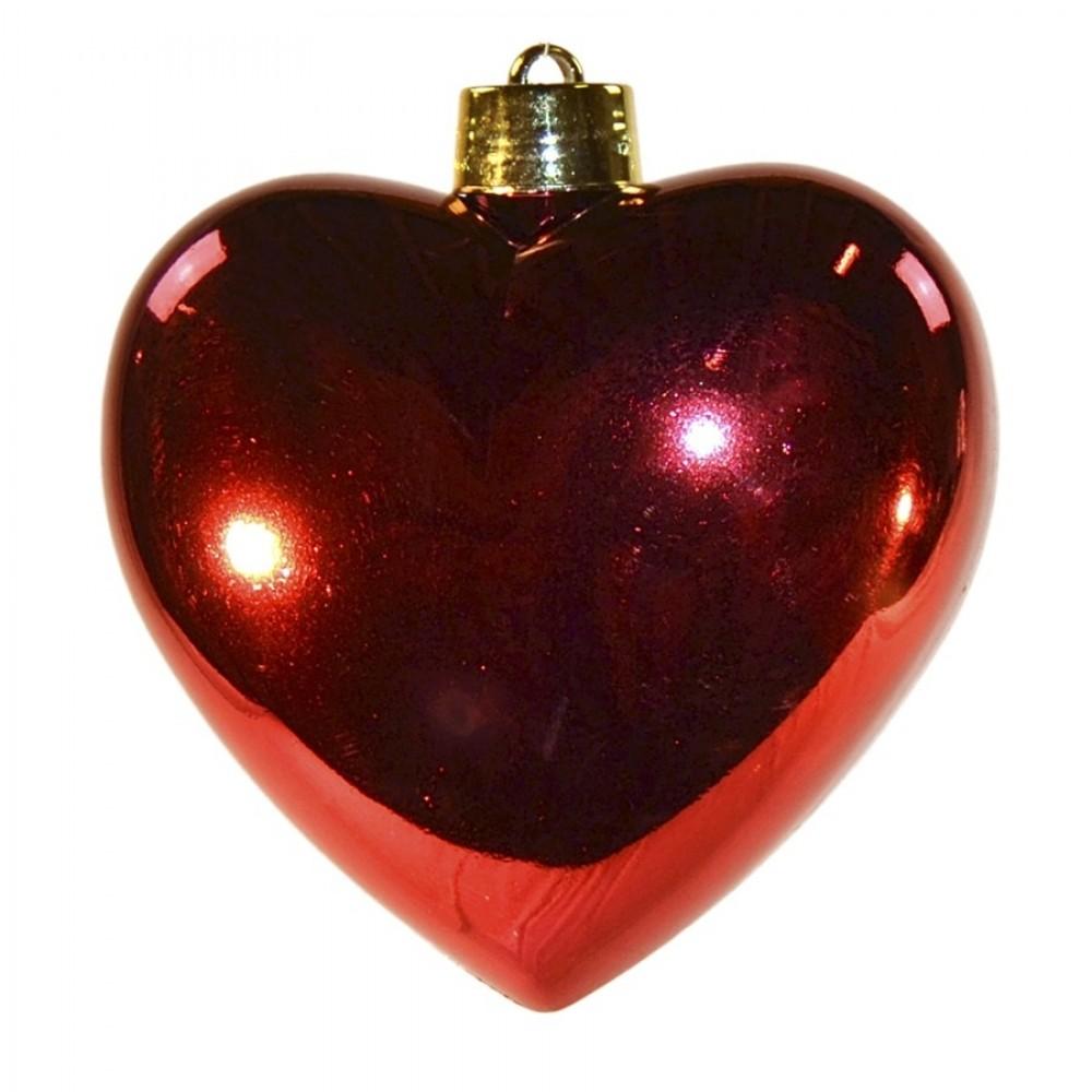 Hjerte, blank rød, 23 cm-34