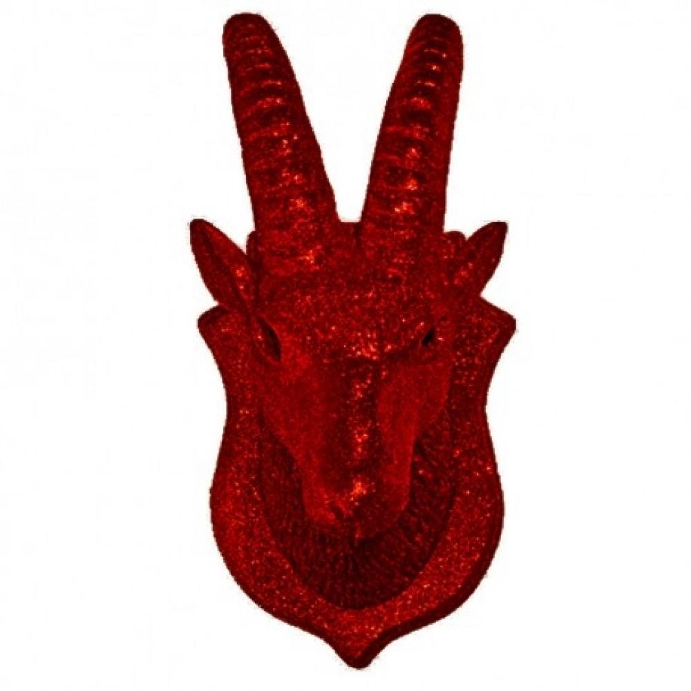Stenbuktrofæ, rød glitter-31