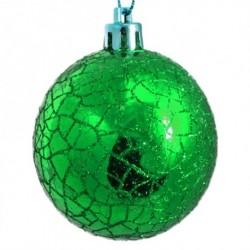 6 cm kugler, crackle glitter, grøn, 6 stk i boks-20