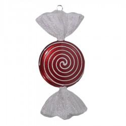 18 cm slik, rød med hvidt glitter, flad, rund-20