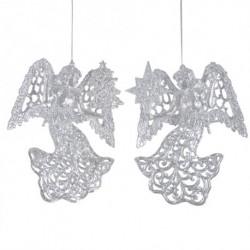 12 cm engle, sølvglitter, sæt a 2 stk.-20