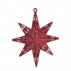 12,5 cm stjerne, glitter, rød-20