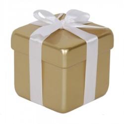 10x10 cm pakke, guld perlemor m/hvid sløjfe-20