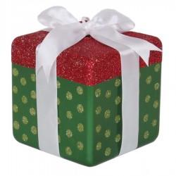 20x20 cm pakke, grøn perlemor m/rødt og lime glitter-20