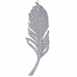 15 cm fjer-ornament, glitter, sølv-20