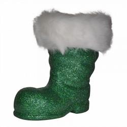 Julemandens støvle, 19 cm grønt glitter-20
