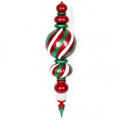 157 cm finial, rødt med hvidt og grønt glitter-20