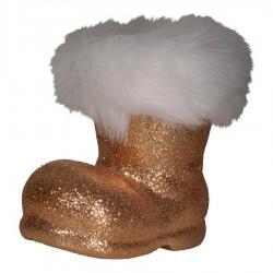 Julemandens støvle, 13 cm, kobber glitter-20