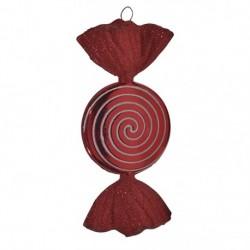 18 cm slik, rød med rødt glitter, flad, rund-20