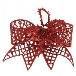 20 cm clip-on sløjfe, rødt glitter-20