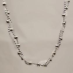 Guirlande, 2,5 meter, sølv m/bånd-20