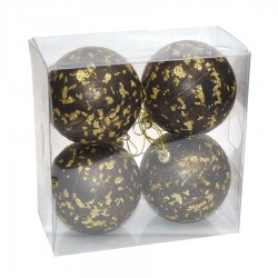 7 cm julekugle, 4 stk i boks, antik brun med guldglitter-20