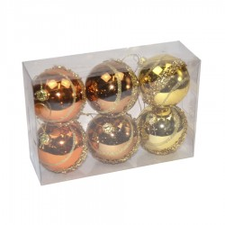 5 cm kugler, 6 stk i boks, guld/kobber/bronze m/guldglitter-20
