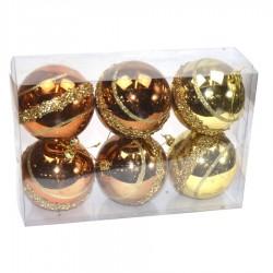 7 cm julekugler, 6 stk i boks, guld/kobber/bronze m/guldglitter-20