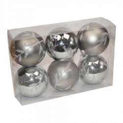 7 cm julekugler, 6 stk, gunpowder, mat/blank m/sølvglitter-20