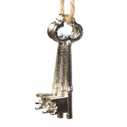 Deko-nøgler, 3 stk, sølv, metal, 7 cm-20