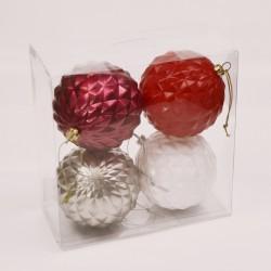 7 cm julekugler, 4 stk, rød/hvid/pink/sølv-20