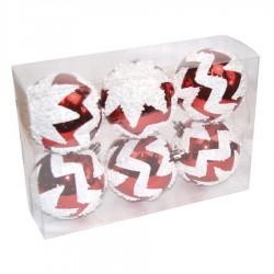 7 cm julekugler, 6 stk, blank rød m/hvid deko-20