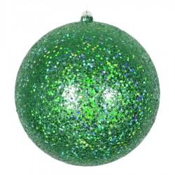 20 cm julekugle, laserglitter, grøn-20