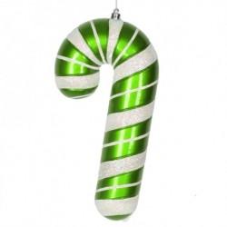 28 cm slikstok, perlemor, grøn m/hvidt glitter-20