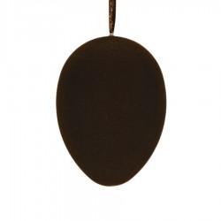 Påskeæg med ophæng, brun velour, 18 cm-20