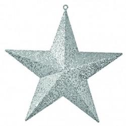 40 cm stjerne, glitter, sølv-20