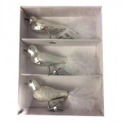 Glasfugl med clip, sølv-20