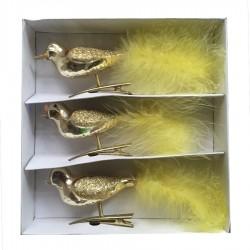 Glasfugl med clip, guld med fjer, 16 cm, sæt a 3 stk-20