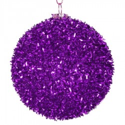 8 cm julekugle, grovglitter, lilla-20