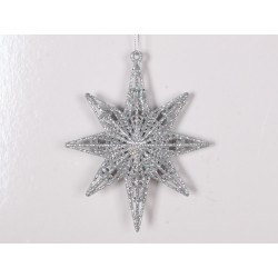 12,5 cm 8-punkt-stjerne, glitter, sølv-20