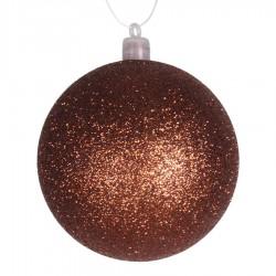 8 cm julekugle, glitter, kobber-20