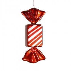 20 cm slik, rektangulær, perlemor rød med hvidt glitter, røde haler-20