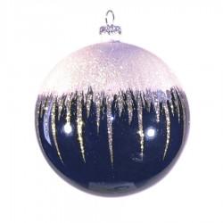 8 cm kugle, blank, dark blue m/sne, hvid og champagne glitter-20